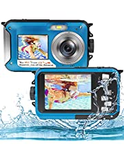 Underwater Camera Full HD 2.7K 48MP Waterproof Camera for Snorkeling Dual Screen Waterproof Camera Digital with Self-Timer and 16X Digital Zoom
