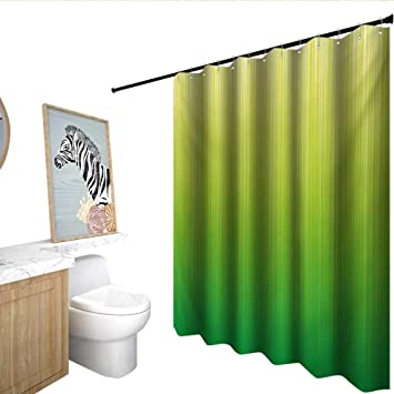 Homecoco Lime Green Shower Curtain With Hooks Pin Striped Digital Background Highlight Lines Abstract Style Futuristic