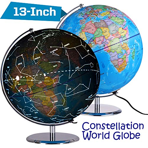 Illuminated Desk Globe - ZUEDA 13 Inch Cartography Illuminated World Globe, Desktop LED Star Constellation Globe & Nightlight with Steel Stand, 3-in-1 Exploration Earth Globe for Kids
