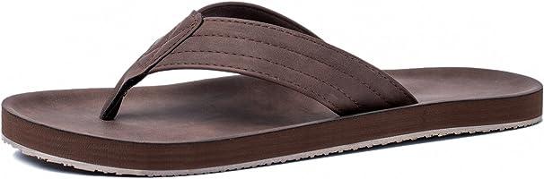 VIIHAHN Men's Flip Flops Leather Sandals Arch Support Summer Beach Slippers