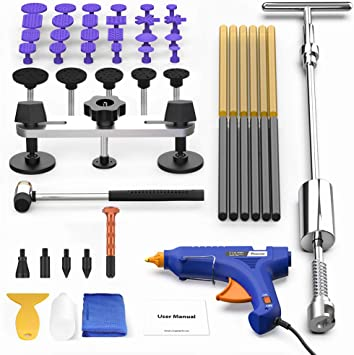 47× PDR Tools Paintless Dent Repair Auto Dent Puller Lifter T-bar Hammer Removal