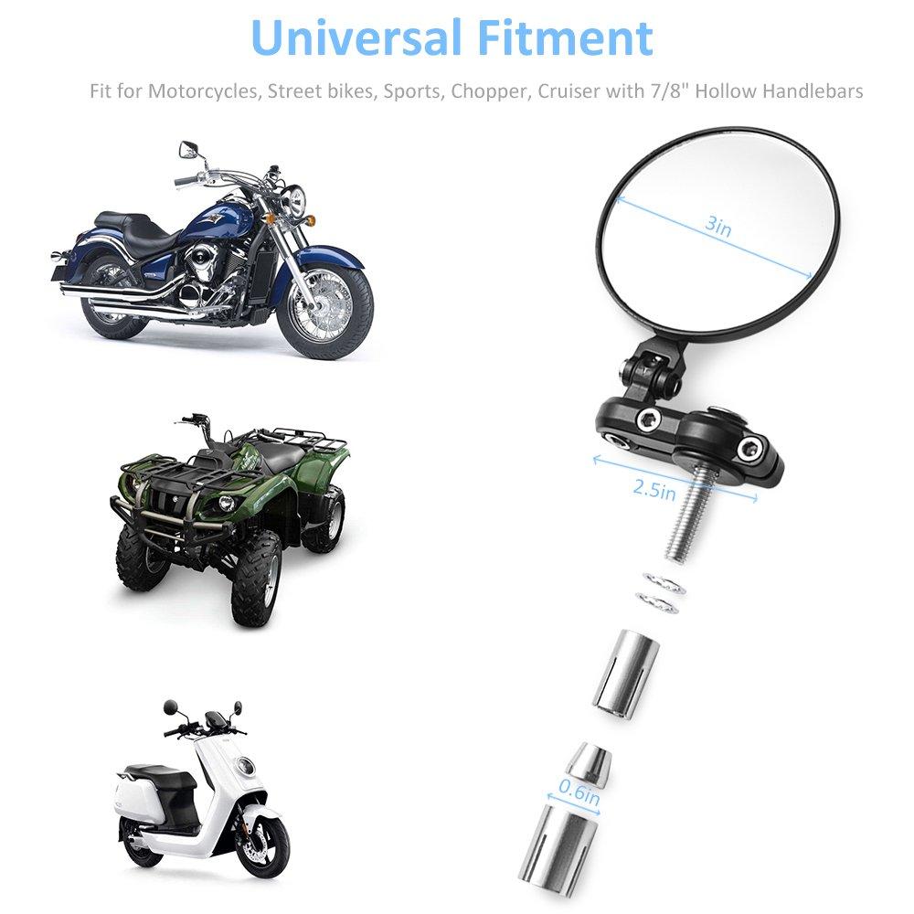 MICTUNING Universal Motorcycle Mirrors - 3'' Round Folding Bar End Side Mirror for Honda, Scooter, Suzuki, Yamaha, Kawasaki, Victory, Harley Davidson and More by MICTUNING (Image #6)