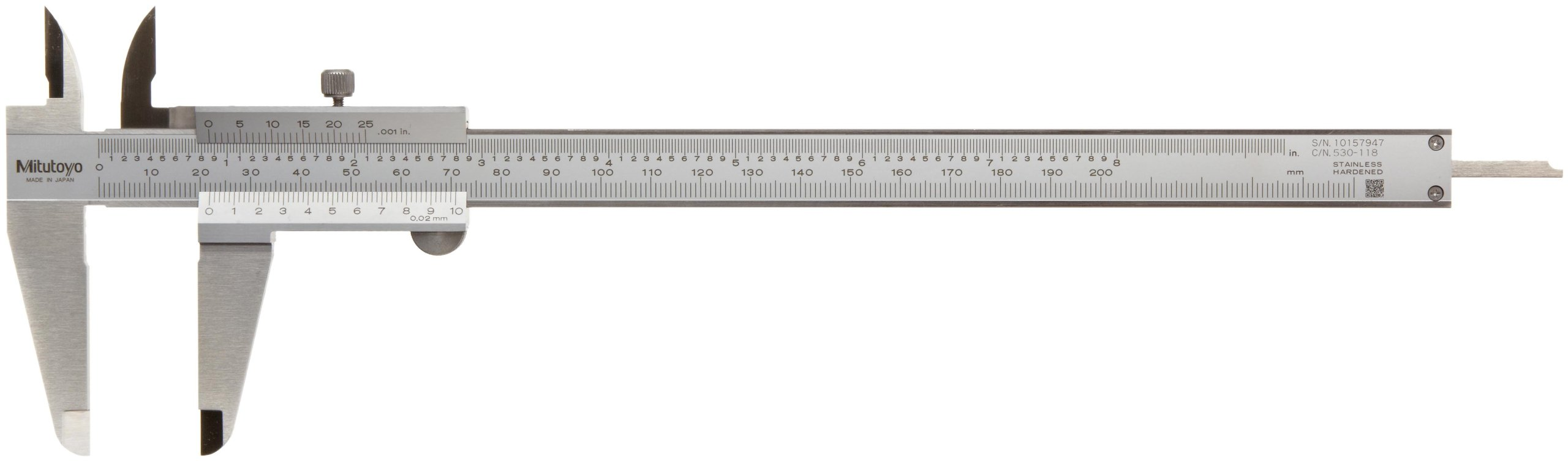 Mitutoyo 530-118 Vernier Calipers, Stainless Steel, for Inside, Outside, Depth and Step Measurements, Metric, 0''/0mm-200mm Range, +/-0.03mm Accuracy, 0.02mm Resolution, 50mm Jaw Depth