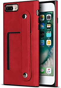 Zouzt Premium PU Leather case for iPhone 7 Plus/iPhone 8 Plus Back Cover case Adjustable Buckle with Card Slot case with Holder Strap Compatible with iphone8 Plus - red