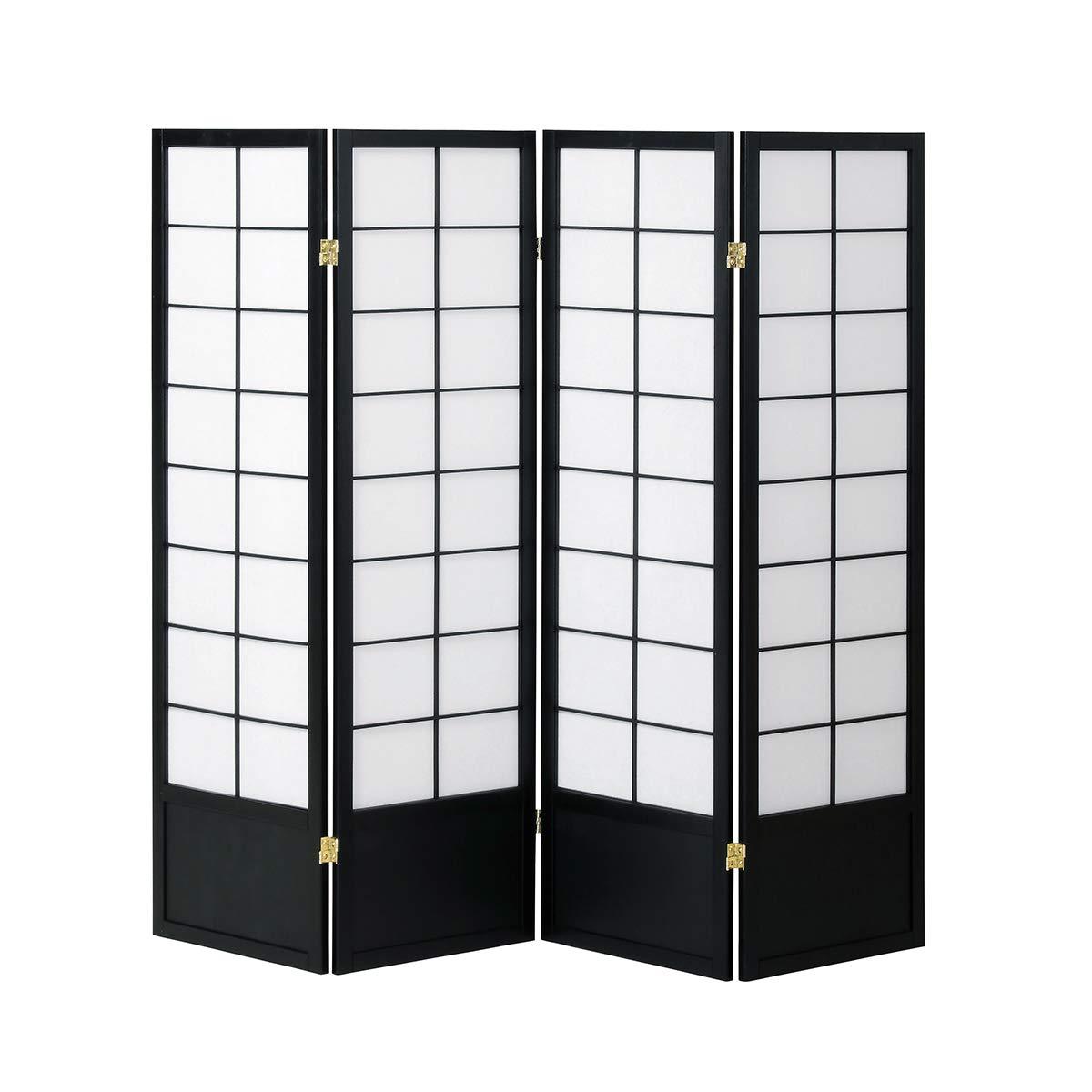 BEATON JAPAN パーティション 4連 衝立 間仕切り 和風 パーテーション 和室 (ブラック, 高さ150㎝) B07GBSBM9Q ブラック 高さ150㎝
