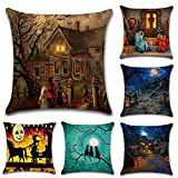 Enipate 6 Pack Halloween Linen Square Throw Pillow Case Cushion...