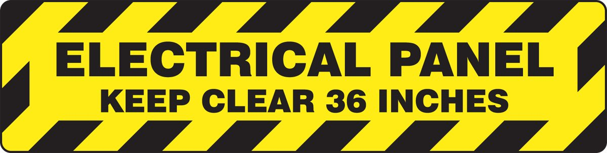 Accuform PSR277 Slip-Gard Adhesive Vinyl Step-Style Floor Sign, Legend''ELECTRICAL PANEL KEEP CLEAR 36 INCHES'', 6'' Length x 24'' Width, Black on Yellow