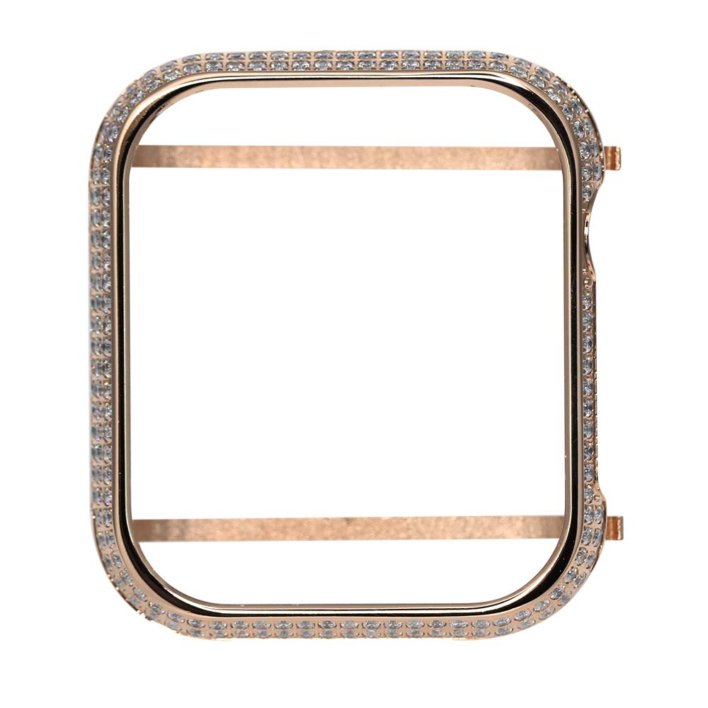 UKCOCO Compatible Apple Watch Bling Case, Sparkle Rhinestone Glitter Diamond Aluminum iWatch Face Cover Metal Bezel Protective Frame Edge Protector Bumper for iWatch Series 4 (B-44mm Rose Gold)