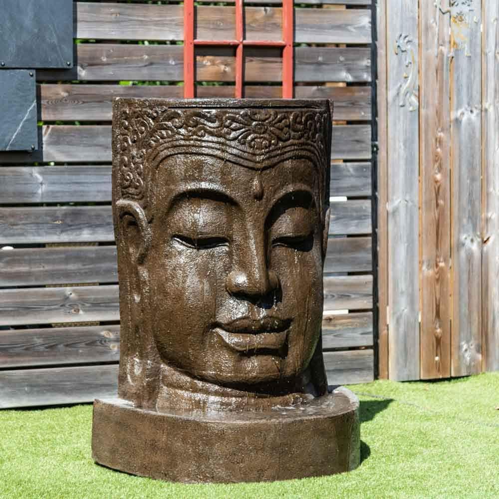 Wanda collection Fuente de jardín Pared de Agua Rostro de Buda 1, 20 m marrón Envejecido: Amazon.es: Jardín