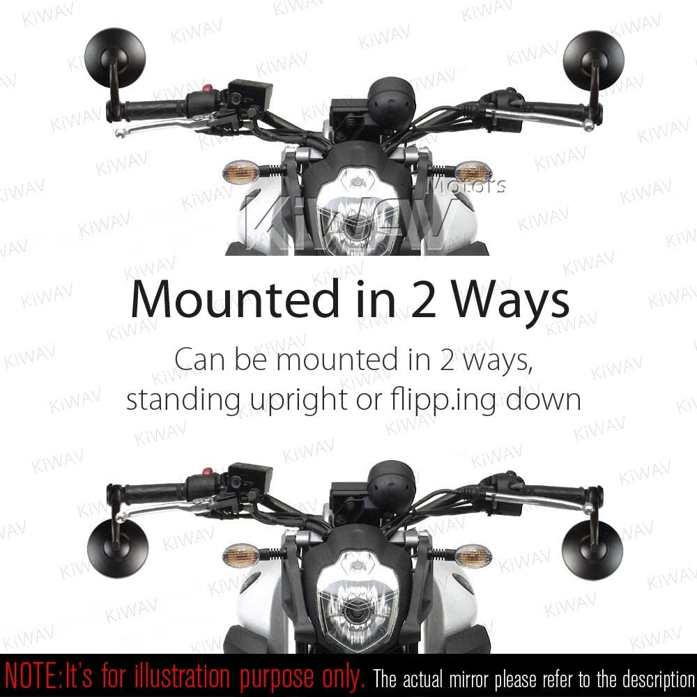 KiWAV Magazi Bob Chrome Motorcycle Bar End Mirrors Sturdy and Durable Compatible for Triumph Water-Cooled Motorcycles