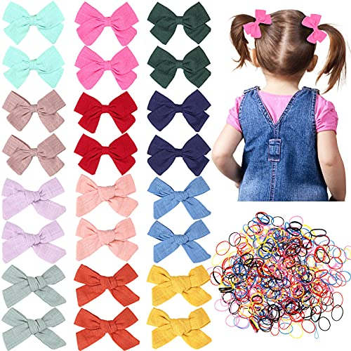 24 Pieces Baby Girls Hair Bows Clips Hair Barrettes Accessory for Babies Infant Toddlers Kids with 1500 Pieces Elastic Colored Hair Bands