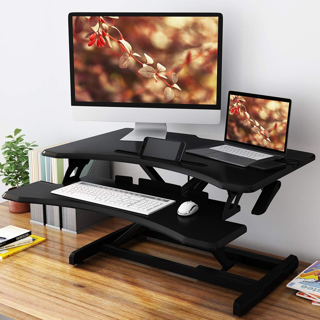 SLYPNOS Adjustable Standing Desk Converter Sit to Stand up Desk Riser, Extra Large Table Top Stand up Desk with Detachable Keyboard Tray, 28.5 Inches Wide Ergonomic Workstation