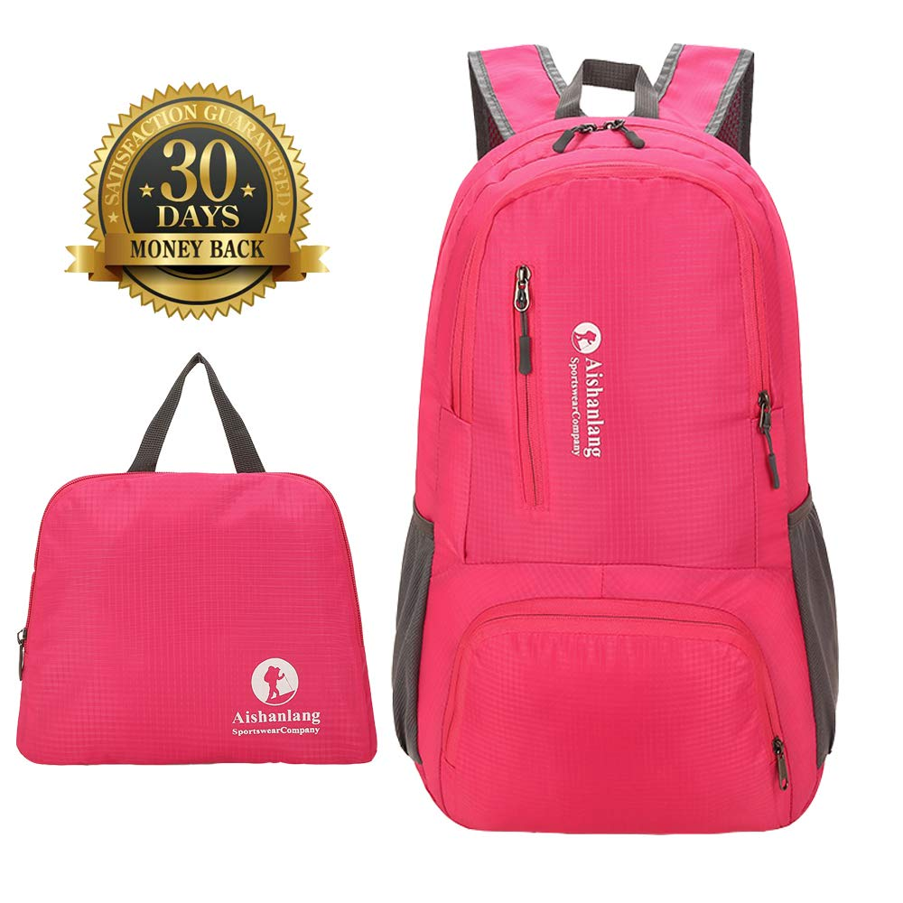 Packable Backpack Lightweight Travel Hiking Backpack Daypack with Rain Cover  (Pink) 95a70c8ab6fd2