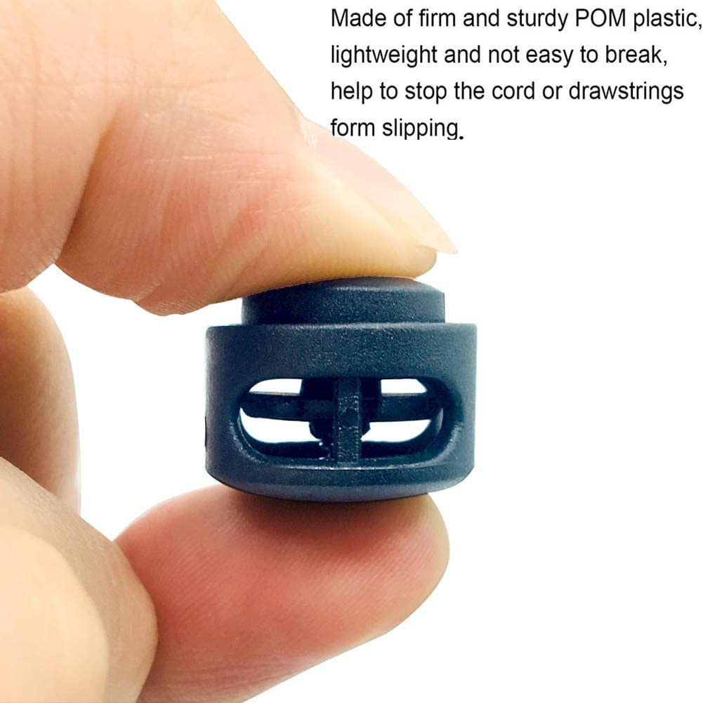 Yosawa 60 pcs Transparent Cord Locks, Single Hole End Spring Toggle Stopper Slider for Clothing Accessories, Bags, Shoes, Sports (SKTM