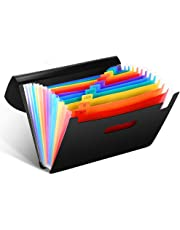 Colored File Folders, VEYETTE 12-Pocket Expanding File Folder with Tags and Closure for Classroom, Home, Office and Travel Use, A4 Size and Letter Size