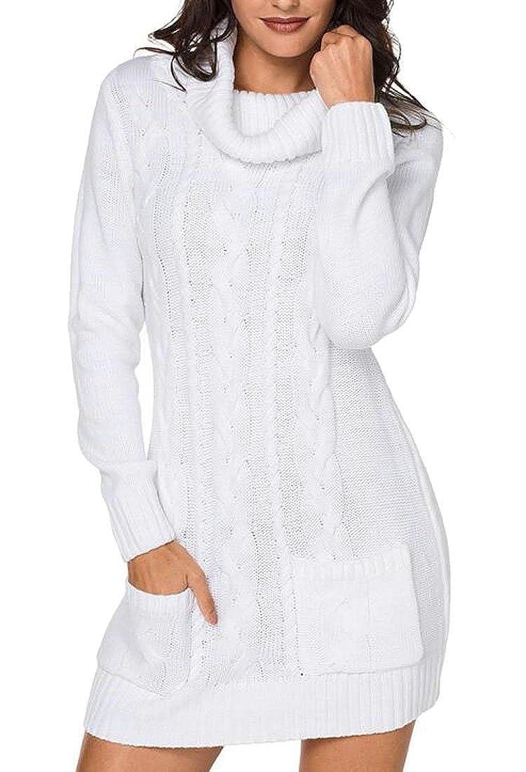 White WSPLYSPJY Women's Casual Turtle Neck Knit Twist Sweater with Pockets