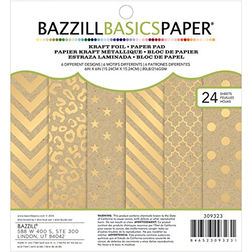 Bazzill 6 x 6-inch Kraft with Gold Foil Paper Pad by Premium Paper | Includes 24 6 x 6-inch double-sided sheets in 6 different designs -