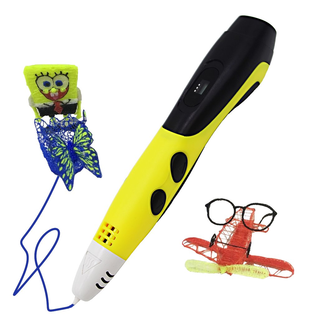 3D Doodler Printing Pen with Display for Kids, Low Temperature 3D Drawing Pen with Holder and free PCL Filament Yellow