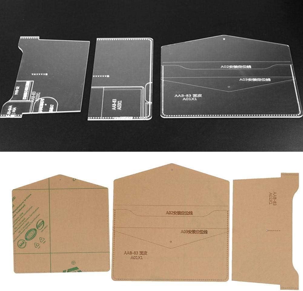Plantilla de cartera de monedero de bolsa de almacenamiento de acrílico Plantilla DIY Artesanías de cuero hechas a mano Plantillas de patrón de cuero de molde de iPad para bolsas de billetera
