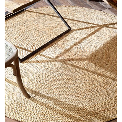 Natural Hemp Rug - nuLOOM Handwoven Rigo Jute Rug, 6' Round, Natural