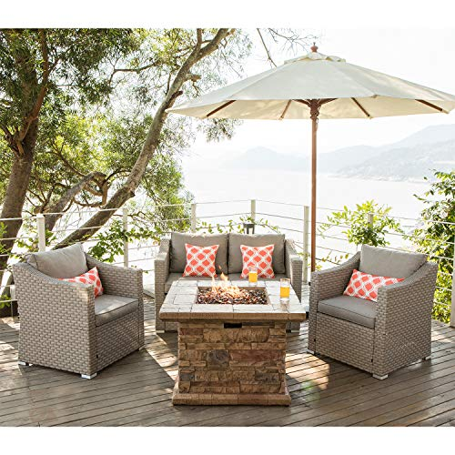 COSIEST 4-Piece Faux Brown Fire Pit Outdoor Furniture Sectional Sofa, Gray Wicker Conversation Set, 4 Pattern Pillows w 35-inch Square Gas Fire Table (50,000 BTU) for Garden, Pool, Backyad