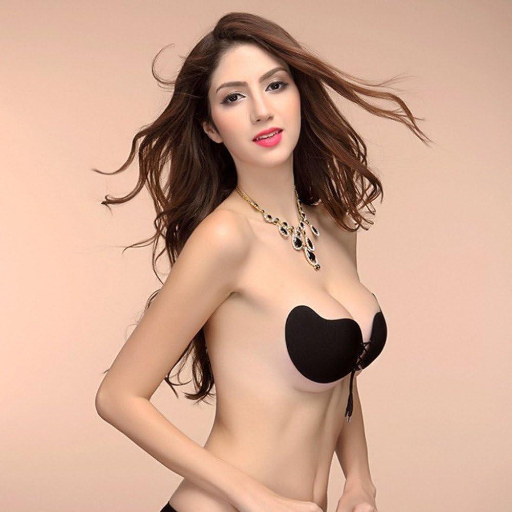 Invisibile in Silicone Rebeca Shop Reggiseno autoreggente Push up Silicone Bra Invisibile da Donna Autoadesivo Stile Schiena Nuda Senza Spalline