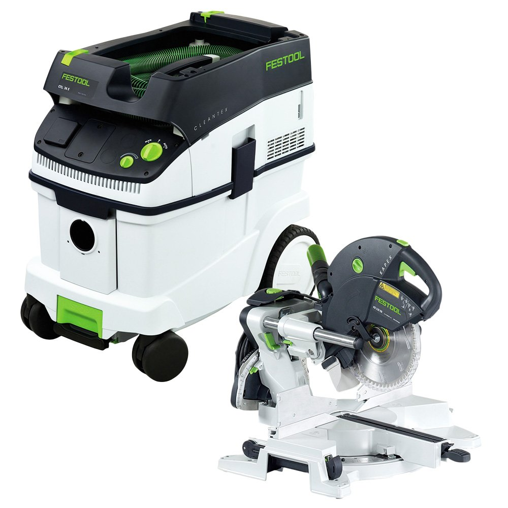 Festool KS 120 Dual Compound Sliding Miter Saw CT 36 E Dust Extractor Package