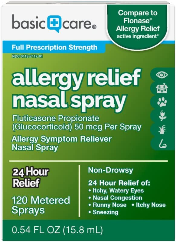 Amazon Basic Care Allergy Relief Nasal Spray, Fluticasone Propionate (Glucocorticoid), 50 mcg Per Spray, 0.54 Fluid Ounces