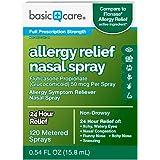Amazon Basic Care Allergy Relief Nasal Spray, Fluticasone Propionate (Glucocorticoid), 50 mcg Per Spray, 0.54 Fl.Oz