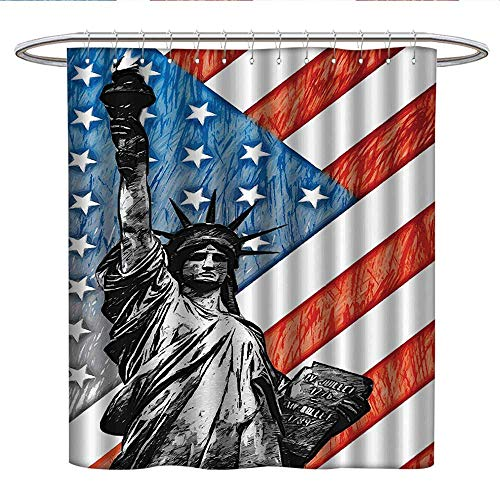 Anshesix American Flag Decorfabric Shower curtainSketchy Statue Cultural Icon States Freedom History Country Love ArtworkPleated Shower curtainMulti