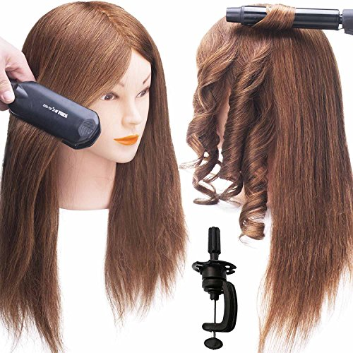 "Price comparison product image SILKY 24"" Mannequin Head with 100% human hair #4 Dark Brown Real Hair Training Head Hairdresser Cosmetology Doll with Free Clamp Stand"