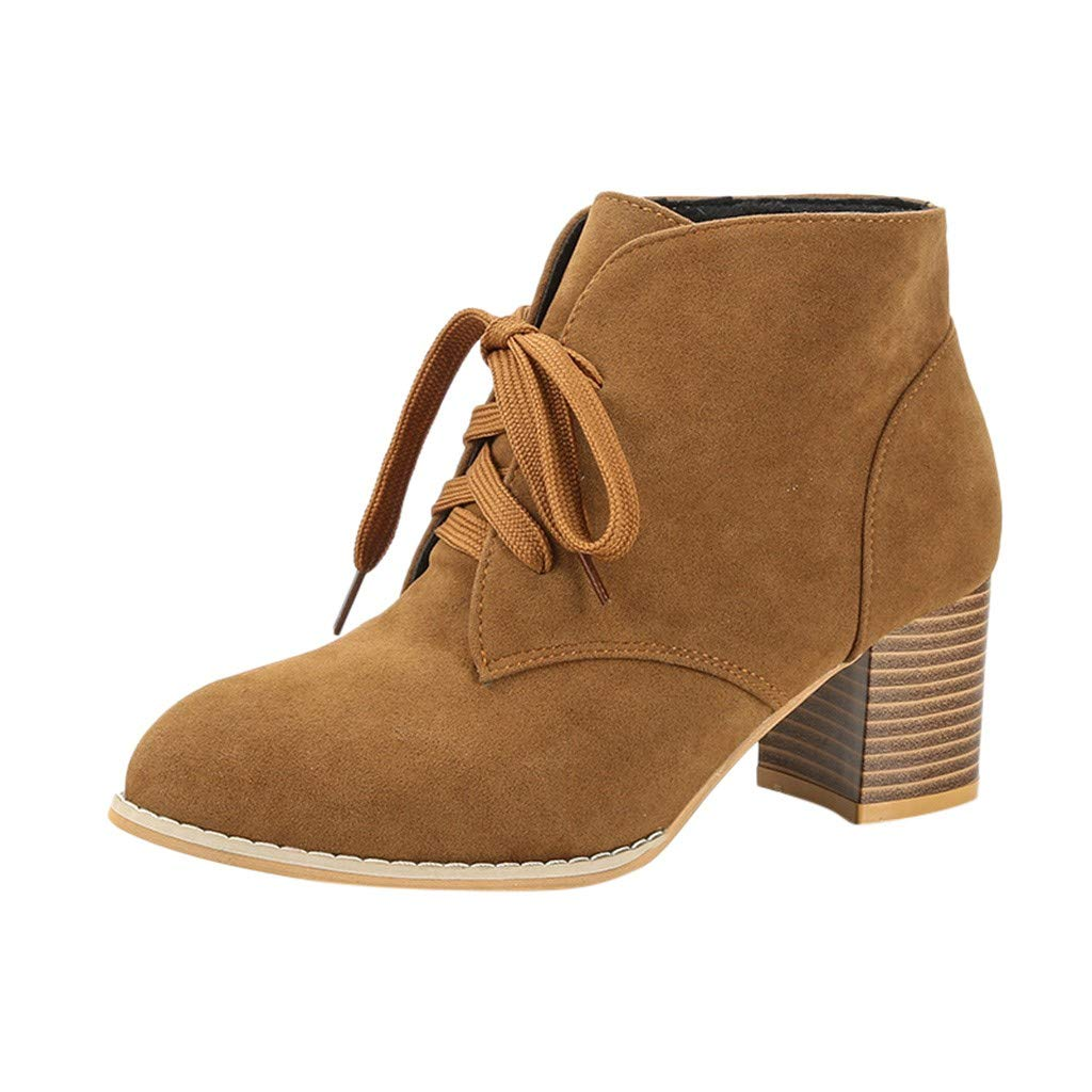 Benficial Boots for Women,Women's Lace-Up Ankle Bare Boots Flat Square Heel Casual Short Tube Booties Brown by Benficial