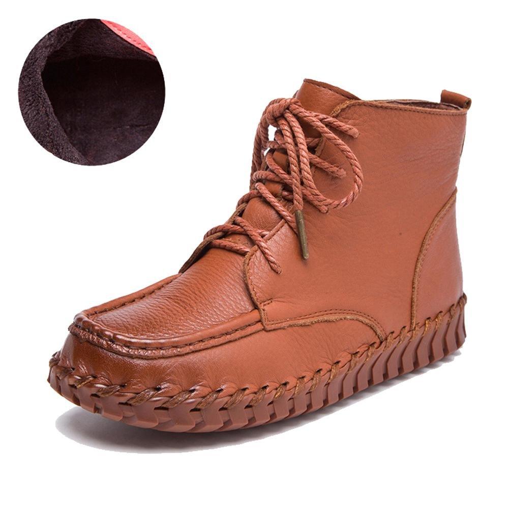 marron  femmes fait main bottes cuir doux semelles plus épais peluche apparteHommest chaud paresseux enceinte cheville lacet chaussures