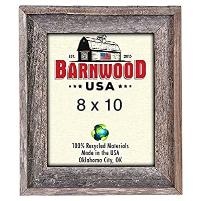 BarnwoodUSA | Farmhouse Style Rustic 8x10 Picture Frame | Signature Molding | 100% Reclaimed Wood | Rustic | Natural Weathered Gray - RUSTIC FARMHOUSE SIGNATURE PICTURE FRAME; Fits a 8″x10″ photograph, mount horizontally, vertically. *Viewable area is slightly smaller. — If you don't see the size you need please check our custom frame listing, copy and paste ASIN: B07QGH47DK into search bar for custom sizes! ENVIRONMENTALLY FRIENDLY; Crafted from 100⁒ reclaimed and recycled wood. 100⁒ MONEY BACK GUARANTEE; If you aren′t satisfied, contact us for a full refund. - picture-frames, bedroom-decor, bedroom - 615LP060fuL. SS400  -