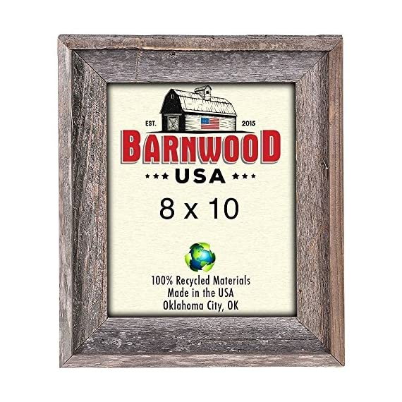 BarnwoodUSA   Farmhouse Style Rustic 8x10 Picture Frame   Signature Molding   100% Reclaimed Wood   Rustic   Natural Weathered Gray - RUSTIC FARMHOUSE SIGNATURE PICTURE FRAME; Fits a 8″x10″ photograph, mount horizontally, vertically. *Viewable area is slightly smaller. — If you don't see the size you need please check our custom frame listing, copy and paste ASIN: B07QGH47DK into search bar for custom sizes! ENVIRONMENTALLY FRIENDLY; Crafted from 100⁒ reclaimed and recycled wood. 100⁒ MONEY BACK GUARANTEE; If you aren′t satisfied, contact us for a full refund. - picture-frames, bedroom-decor, bedroom - 615LP060fuL. SS570  -