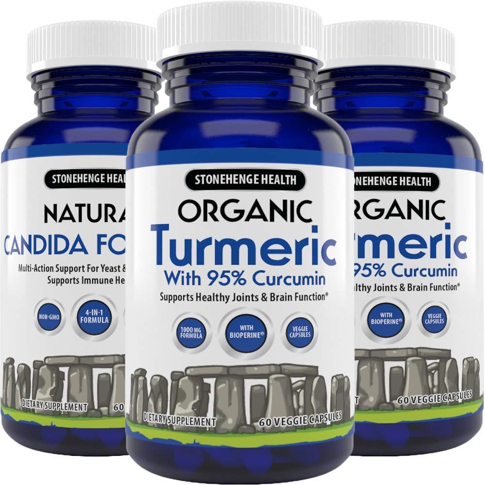 Stonehenge Health Organic Turmeric Maximum Strength 95% Curcumin with BioPerine® for Added Absorption - Anti-Inflammatory, Pain Reducer, Arthritis Support - 1,010 mg Daily dose (3 Pack)