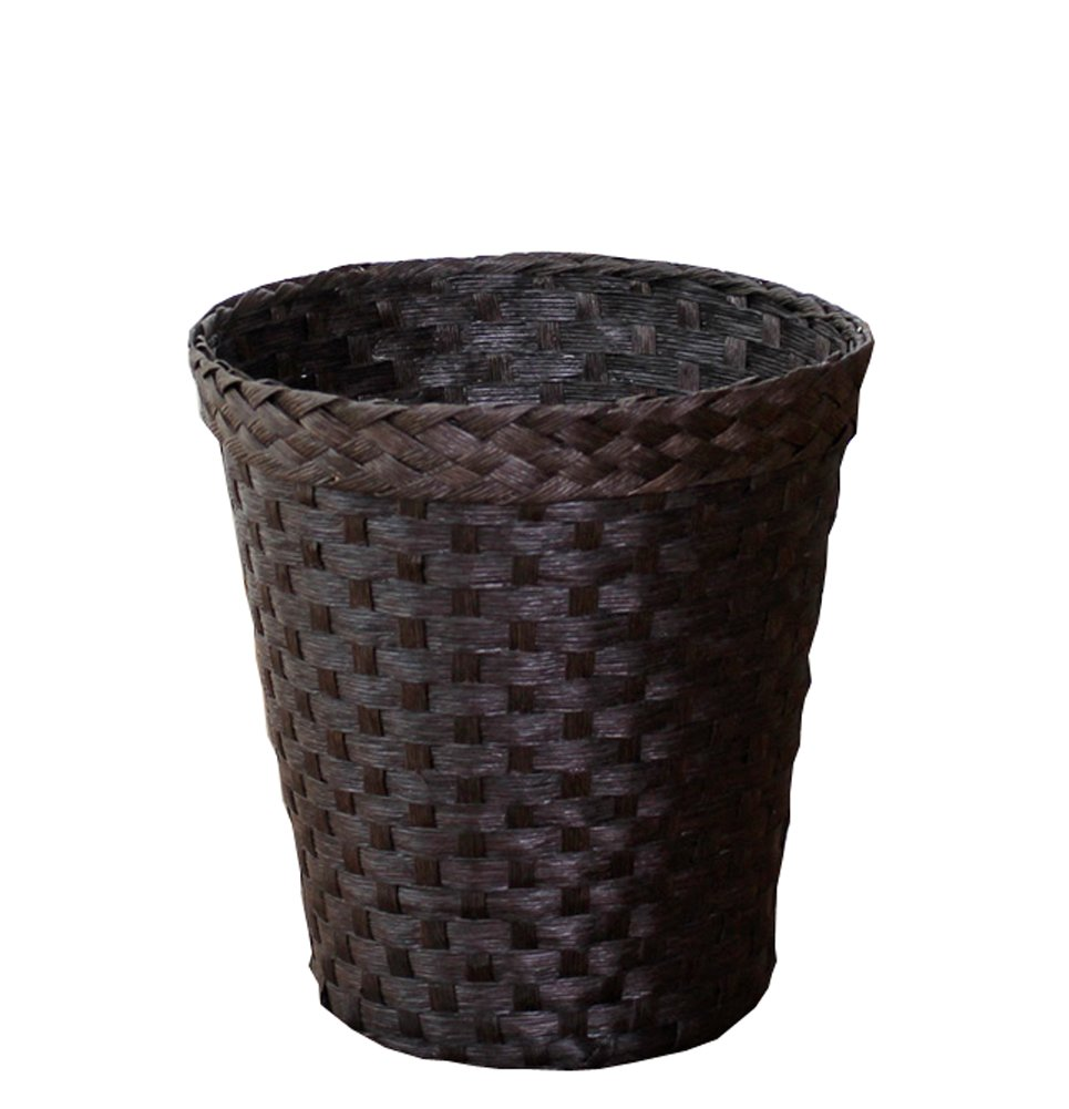 Peacewish Fashion Trash Can Woven Waste Bin Without Cover Living Room Storage - For Bathrooms And Bedrooms - Natural (deep color)