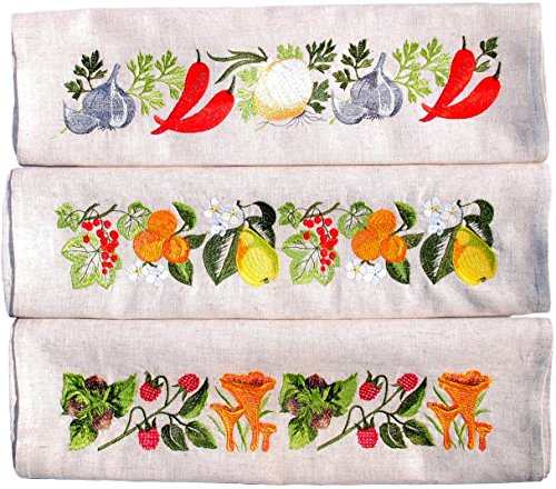 H line EMBROIDERED Housewarming Anniversary Fruits Veggies Forest