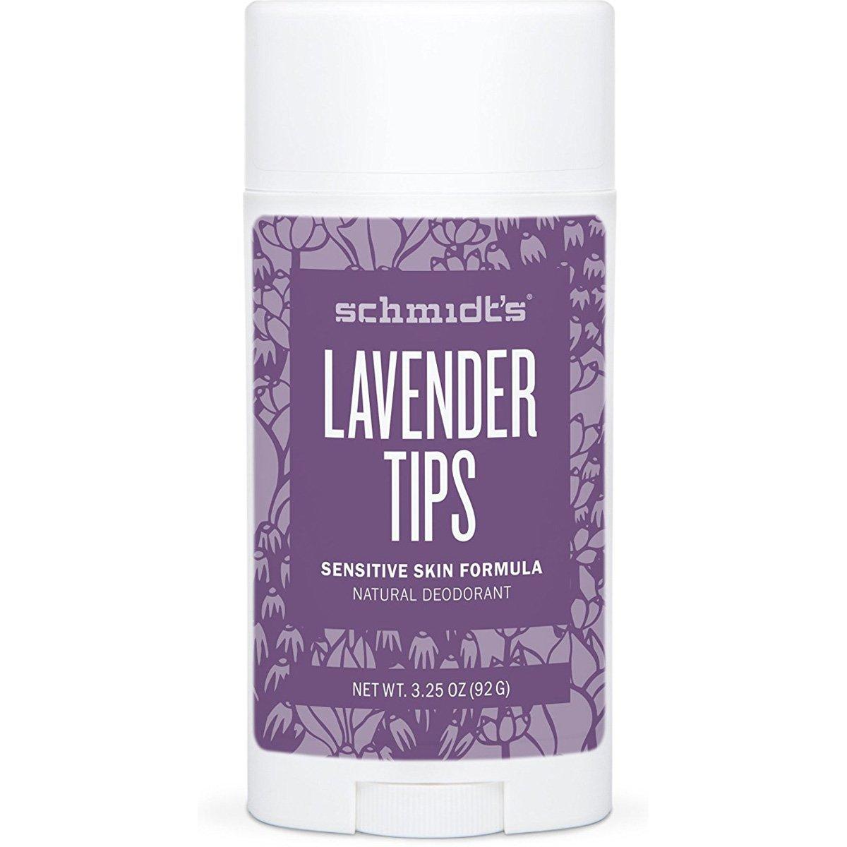 Schmidt's Natural Deodorant - Lavender Tips 3.25 Oz Sensitive Skin Stick; Aluminum-Free Odor Protection & Wetness Relief