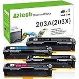 Aztech 4 Pack Compatible for HP 203A CF540A-CF543A Toner for HP Color Laserjet Pro MFP M281fdw Toner Cartridge MFP M281fdn M280nw M254dw M254nw HP M281 Toner
