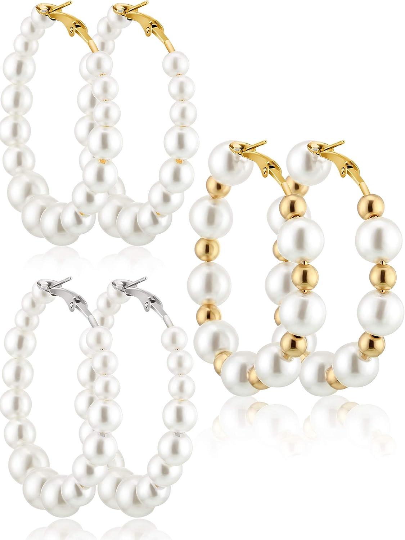 3 Pares Pendientes de Perla Regalo de Pendientes de Colgante de Perlas para Regalo de Mujeres Novias