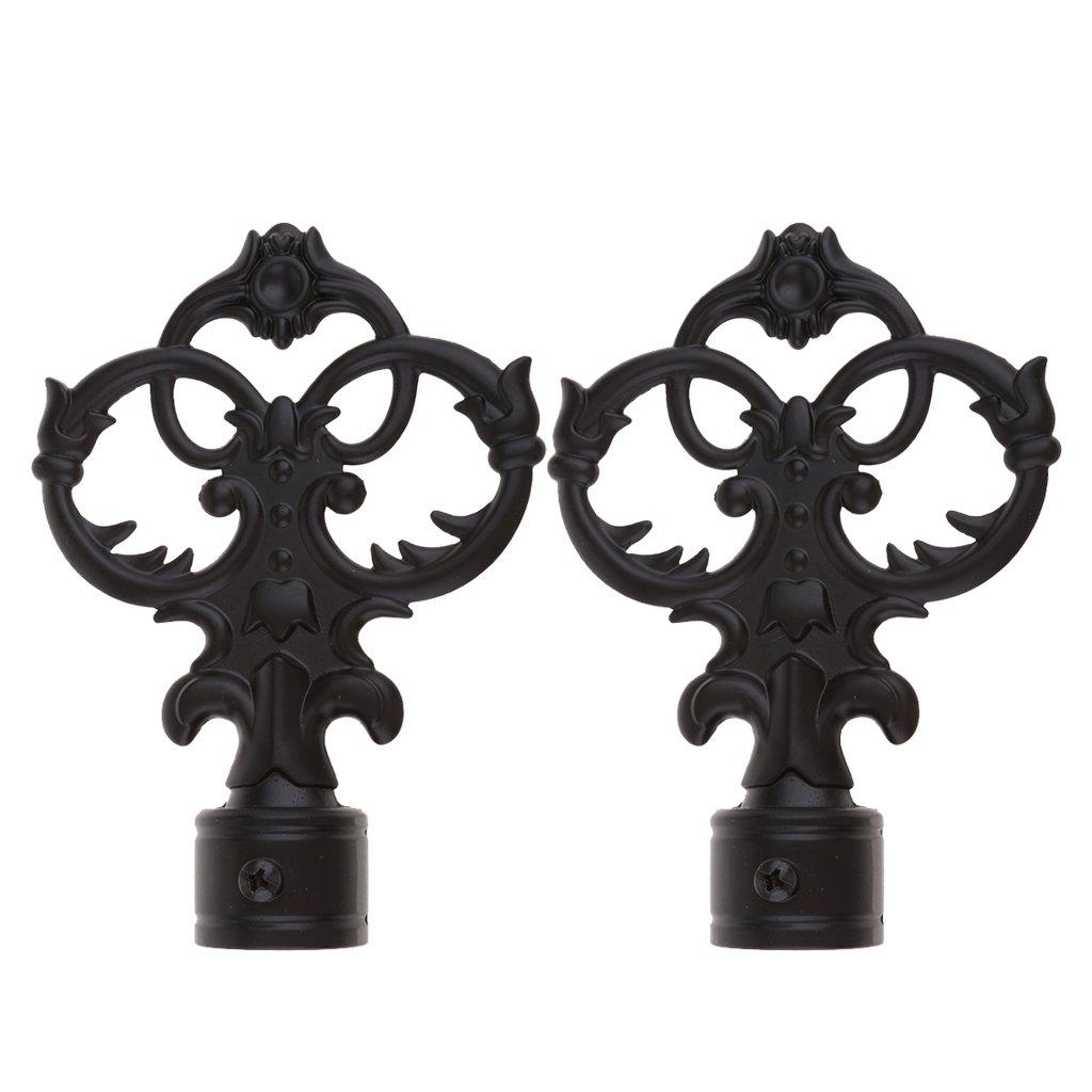 Sharplace Embouts de Tringle /à Rideaux D/écoratifs Maison H/ôtel Barre Boule Creuse Noire de 28mm
