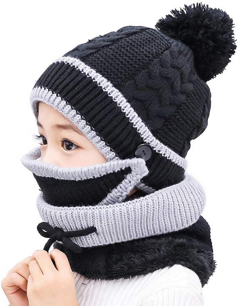 Kids Winter Fleece Beanie Scarf Mask Set Girls Boys Pompom Warm Hat Skiing Caps