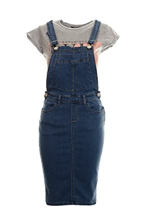 c08103691df Women s Ladies Stretch Denim Pinafore Dungaree Bib Pocket Midi Dress   Amazon.co.uk  Clothing