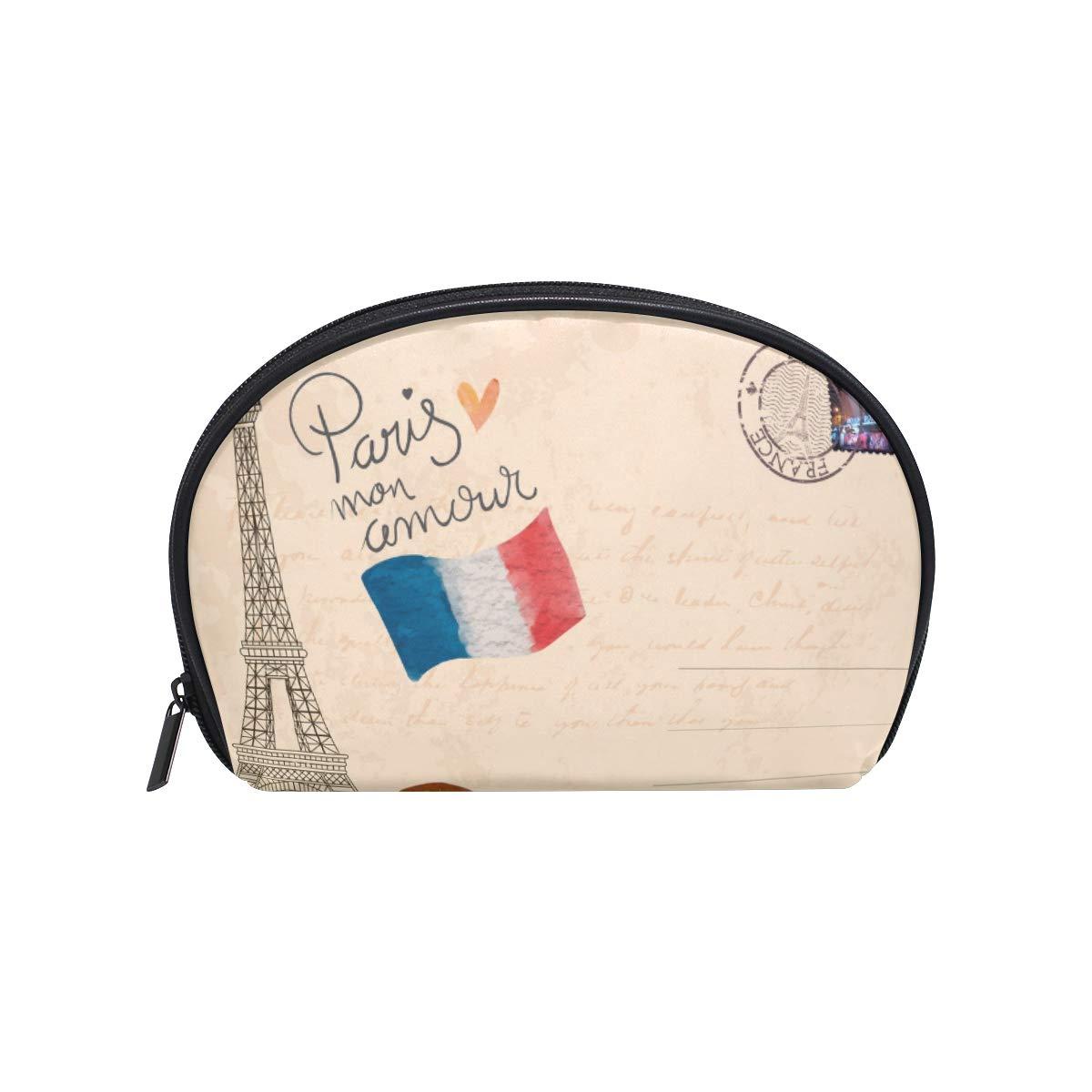 641289746ca9 Amazon.com : Half Moon Cosmetic Makeup Paris Eiffiel Tower Print ...