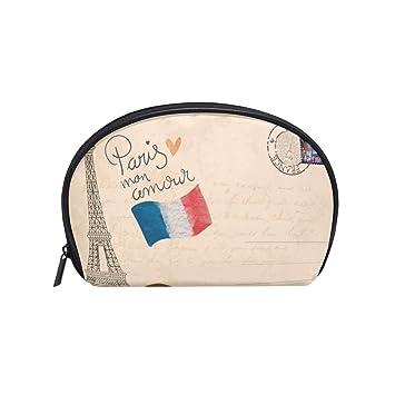 e0c50e4090ef Half Moon Cosmetic Makeup Paris Eiffiel Tower Print Toiletry Bag ...