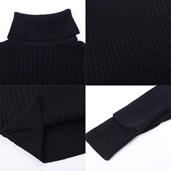 XQS Mens Casual Knitted Slim Solid Color Basic Turtleneck Pullover Sweaters