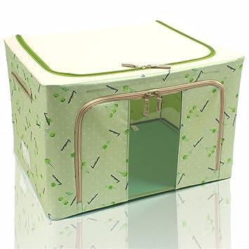 XIAOJUNJUN Caja De Almacenamiento De Tela Oxford Vestido De Acero Grande Cuadro Acabado Quilt 50 * 40 * 33Cm Verde Cajas De Almacenamiento Cajas De ...