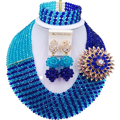 aczuv 8 Rows African Bead Necklace Jewelry Set for Women Nigerian Wedding Bridal Jewelry Sets