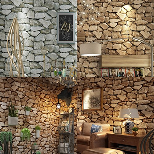 MonkeyJack 6 Rolls Waterproof Self-Adhesive Wall Sticker Rocks Stone Pattern Peel-Stick Wall Murals Door Stickers Counter Top 10M by MonkeyJack